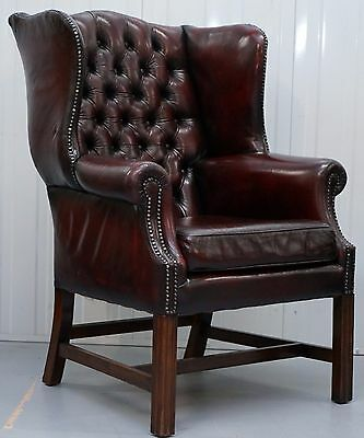 Restored Hand Dyed 60's Oxblood Leather Chesterfield Georgian Wingback Armchair