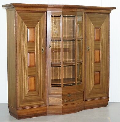 Large Art Deco Teak Bookcase Cupboard With Library Brake Front Glazed Door