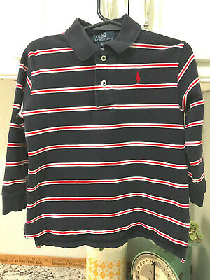 Ralph Lauren Polo Shirt Boys Sz 3/3T Navy Blue w/Red/White Stripes Long Sleeves