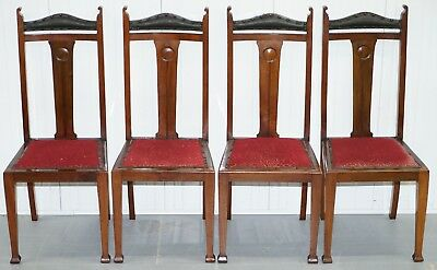 Set Of Four Liberty's London Arts And Crafts Dining Room Chairs Archibald Knox 4