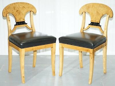 Pair Of Stunning Swedish Biedermeier Satin Birch Wood Occasional Chairs Desk