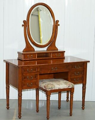 Dressing Table Mirror & Stool Made In Italy By Consorzio Mobili Mahogany Frame