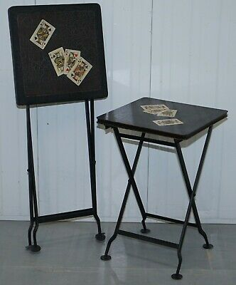 Stunning Rare Pair Of Vintage Hand Painted Folding Metal Card Games Side Tables