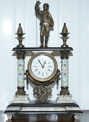 Vintage Marble Corinthian Pillar Mantle Clock With Bronzed Figures Ormolu Mounts