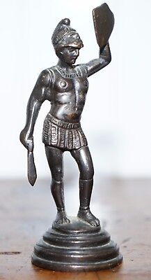 Miniature Bronze Statue Of Roman Solider With Shield Statue Grand Tour Piece