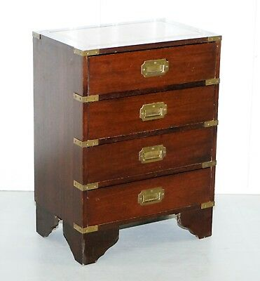Lovely Side Table Sized Military Campaign Chest Of Drawers Brown Leather Top