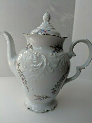 Wawel Poland Embossed Lidded Coffee Pot Teapot Tea Rose Floral Platinum Rim