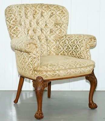 Walnut George Ii Style Claw & Ball Acanthus Carved Legs Chesterfield Armchair