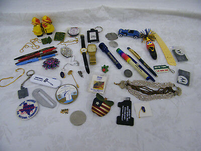 Vintage Junk Drawer Lot Of Jewelry Pinbacks Watches & More #2