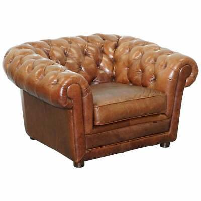 Large Heritage Leather Sloped Arm Aged Brown Leather Chesterfield Club Armchair
