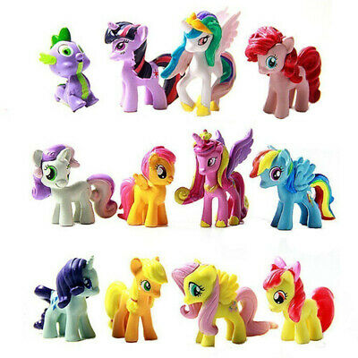 12PCS My Little Pony Cake Toppers PVC Action Figures Kids Girl Toy 3-5CM