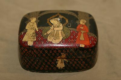 Vintage Asian Antiques Hand Made & Painted Lacquerware Box Middle East