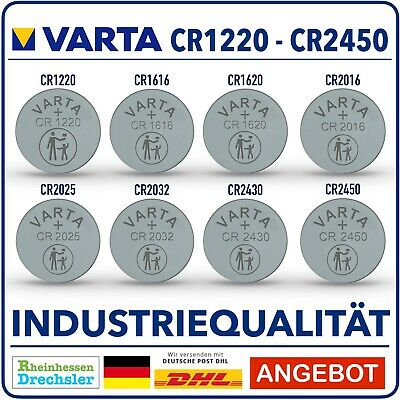 VARTA Knopfzellen High-Tech Lithium  CR2450 CR2430 CR2016 CR2025 CR2032 Bulk