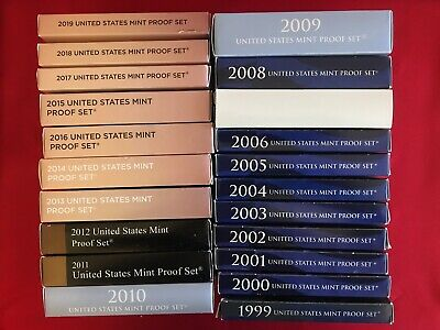 1999 - 2019 U.S. Mint Proof Sets with COA & OGP (20 sets in all)