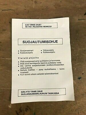 Finnish Army Surplus Issue Respirator Instruction Booklet,Gas Mask Pouch Leaflet