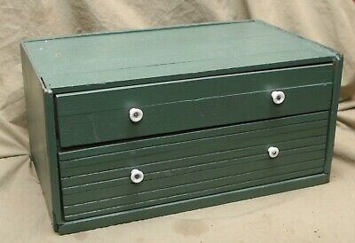 """Antique 2 Drawer Painted Wood Spool Chest 11x18"""" 9"""" tall Short 2"""" tall 3.5"""" Box"""