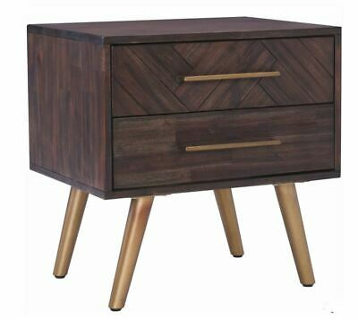 SIDON Parquetry Bedside Table With 2 Drawers  - Brushed Dark Brown
