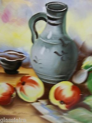 Vintage Decorative Hand Painted Tile FRUIT Apples Signed