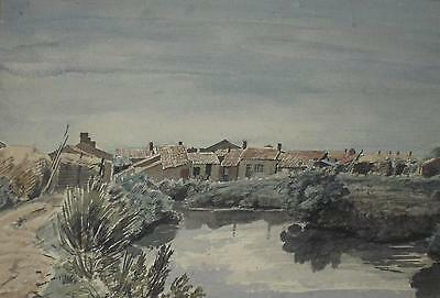 Geffroy DeChaume (French1877-1944) Coastal Village Watercolour Painting c1905/35