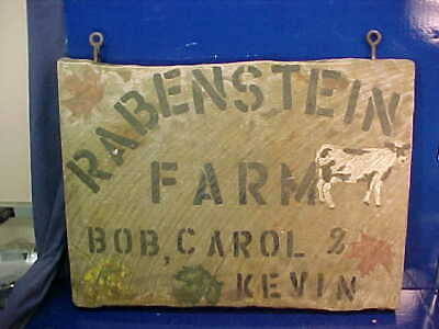 Vintage DAIRY FARM Hand PAINTED WOOD SIGN w COW Images