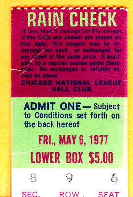 5/6/77 Cubs Ticket Stub-Mike Krukow Win#1/Murcer Hr #179/Dave Campbell Mlb Debut