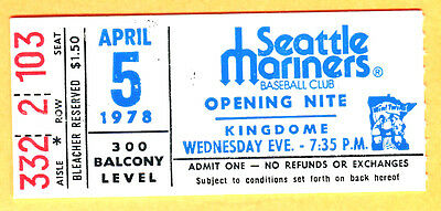 1978 Seattle Mariners Opening Day Ticket Stub-4/5/78-Hosken Powell Mlb Debut
