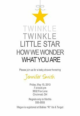 Baby Shower Invitation Boy Girl Neutral Any Colors Twinkle Twinkle Little Star