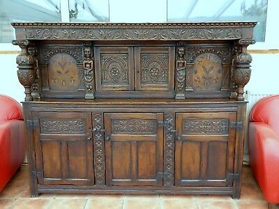 Country Oak Marquetry Inlaid Court Cupboard 1740  Free Shipping To England