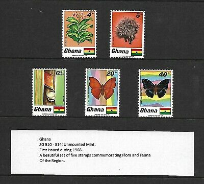 1968 Ghana Pictorial Set Animal Butterfly Sg510 514 Mnh/umm