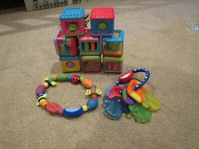 Fisher Price peek a boo sensory cubes/bricks , Nuby teething  toys