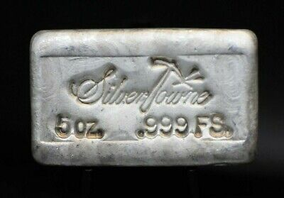 5 oz Silvertowne Vintage Chunky Hand Poured .999 Fine Silver Bar [049DUD]