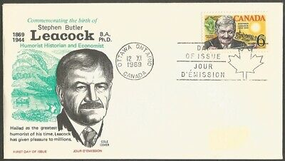 Canada Fdc Canada 1969 Stephen Leacock 6C Stamp First Day Of Issue Cover Cole