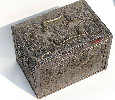 Antique Chinese 18th/19th Century Signed Black Lacquer Box Figures Calligraphy