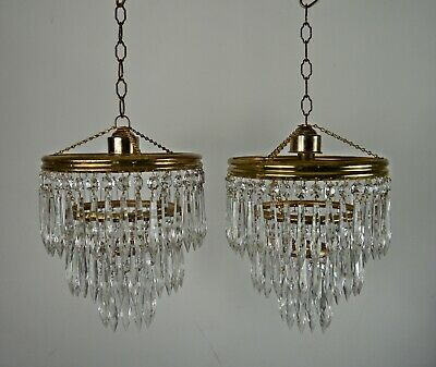 Pair Vintage MidCentury Glass Icicle Drop 3 Tier Chandeliers Ceiling Lamp Light