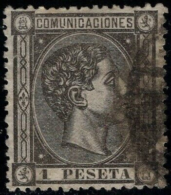 1875.Ed:º169.Alfonso XII.1 pts negro grisacéo.Marquilla.PCat:85€