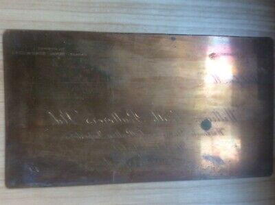 Vintage BRASS  NAME PLATE / PRINTING PLATE WILLIAM SMITH POULTERERS LIVERPOOL