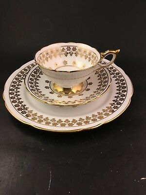 Staffordshire Tea Trio Beaded Jeweled Cup, Saucer, Plate Gold Royal Stafford