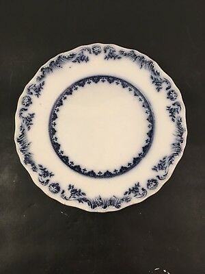 Four (4) Set Flow Blue ACANTHA Luncheon Plates J&G Meakin Shell Edge