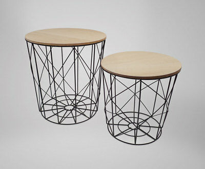 Set of 2 Industrial Scandi Style Metal Nesting Tables / Side tables