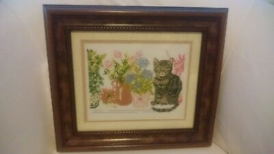 Vintage Completed Cat Needlepoint Tapestry Canvas Framed