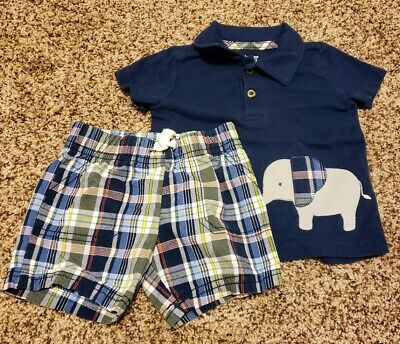 23511f7f3 Just One You By Carters Baby Boy Polo Short Set Size 6 Months Elephant Plaid