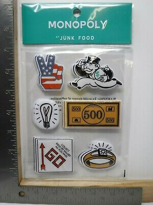 JUNK FOOD MONOPOLY PUFFY STICKERS MONEY GAME PIECES GO BANKER FUN NEW A15582