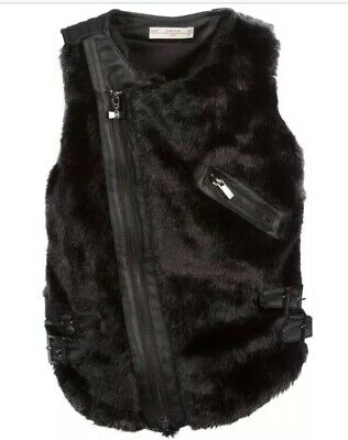 BNWOT Supertrash Girls Vanentina Black Faux Fur Leather Gilet Size 16 Years 176