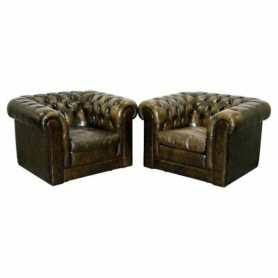 Pair Of Vintage Chesterfield Leather Club Armchairs Feather Cushions 4 Available