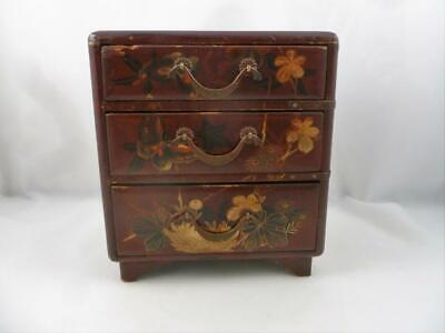 Antique 19thC Japanese Lacquer Table Tansu Cabinet Jewellery Box Meiji Period