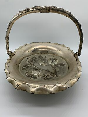 Antique Pairpoint Mfg Co Quadruple Silver Plate Footed With Handle Basket