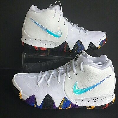 """424b9f8c5ae3 NIKE KYRIE 4 """"March Madness"""" M en s White Multi-Color Basketball ..."""