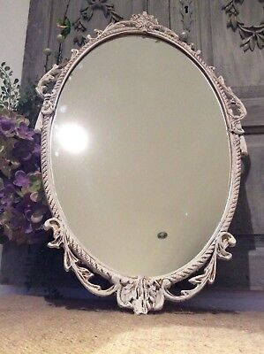 Gorgeous Antique French Rococo Gilt Metal/Chalk washed Wall Mirror~Lovely Detail