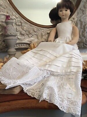 Antique French Doll Christening Gown ~Pin Tucks /Broderie Anglais /Delicate Lace