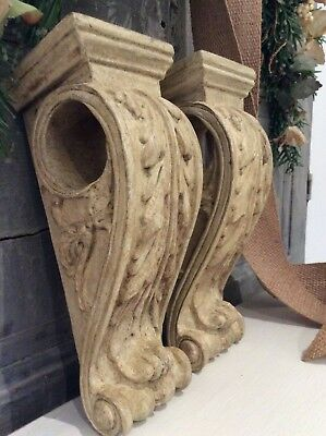 Vintage French Ornate Rococo Corbels~Curtain Rod Holder~Acanthus Leaf Wall Scone